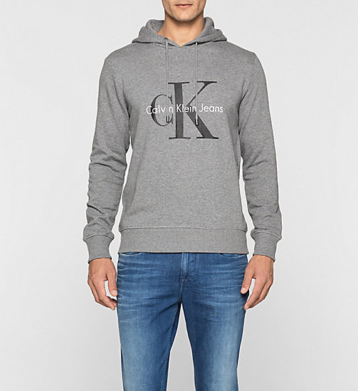 CKJEANS Sweat-shirt à capuche avec logo - LIGHT GREY HEATHER - CK JEANS SOUS-VÊTEMENTS - image principale