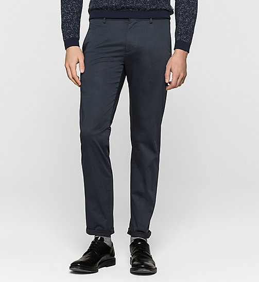 Slim Chino Trousers - TRUE NAVY - CALVIN KLEIN TROUSERS - main image
