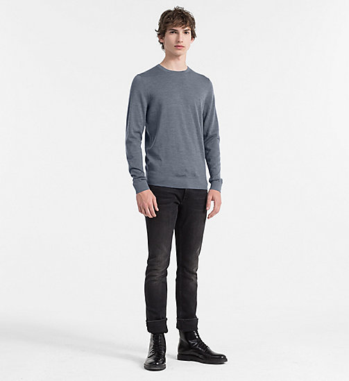 Superior Wool Sweater - GUNMETAL HEATHER - CALVIN KLEIN JUMPERS - detail image 1