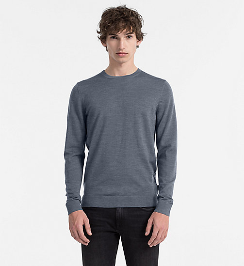 Superior Wool Sweater - GUNMETAL HEATHER - CALVIN KLEIN JUMPERS - main image