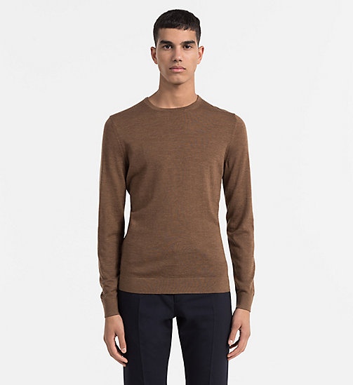 CALVINKLEIN Superior Wool Sweater - TOFFEE HEATHER - CALVIN KLEIN CLASSICS TO FALL FOR - main image