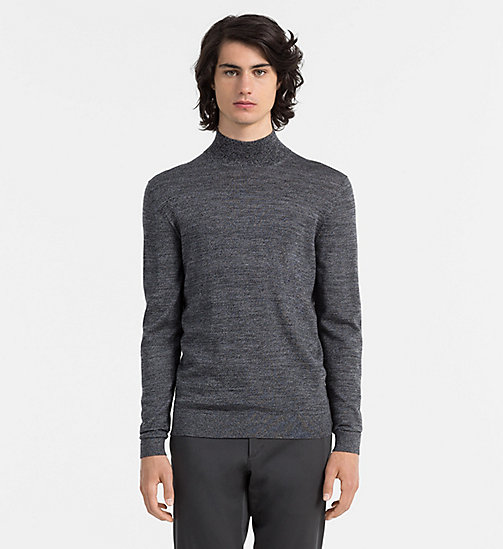CALVINKLEIN Mouliné Wool Turtleneck Sweater - MID GREY HEATHER - CALVIN KLEIN JUMPERS - main image