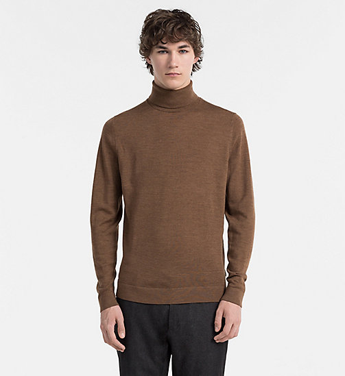 CALVINKLEIN Superior Wool Turtleneck Sweater - TOFFEE HEATHER - CALVIN KLEIN JUMPERS - main image