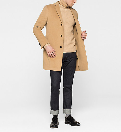 Wool/Cashmere Blend Coat - CAMEL - CALVIN KLEIN OUTERWEAR - detail image 1