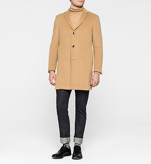 Wool/Cashmere Blend Coat - CAMEL - CALVIN KLEIN OUTERWEAR - main image