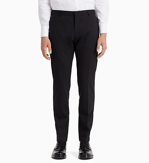 Slim Wool Stretch Trousers - PERFECT BLACK - CALVIN KLEIN CLOTHES - detail image 1