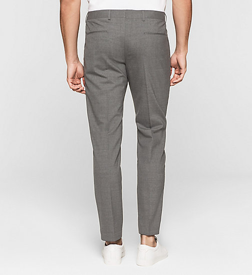 Slim Wool Stretch Trousers - MEDIUM GREY - CALVIN KLEIN CLOTHES - detail image 1