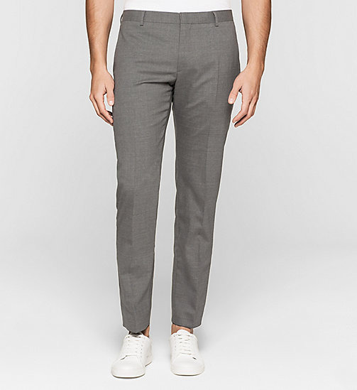 Slim Wool Stretch Trousers - MEDIUM GREY - CALVIN KLEIN SUITS - main image