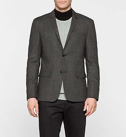 CALVIN KLEIN Fitted Virgin Wool Blazer - Baker K10K100318013