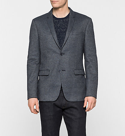 CALVIN KLEIN Fitted Wool Blend Blazer - Baker K10K100425634