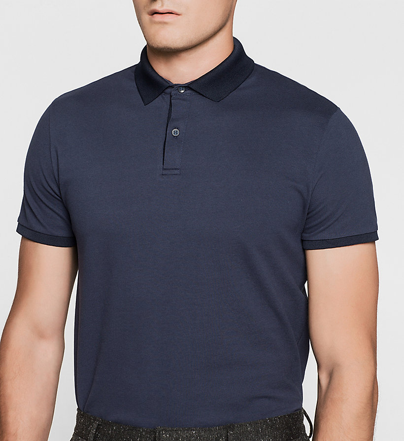 CALVINKLEIN Cotton Pique Polo - MIDNIGHT NAVY - CALVIN KLEIN POLO SHIRTS - detail image 2