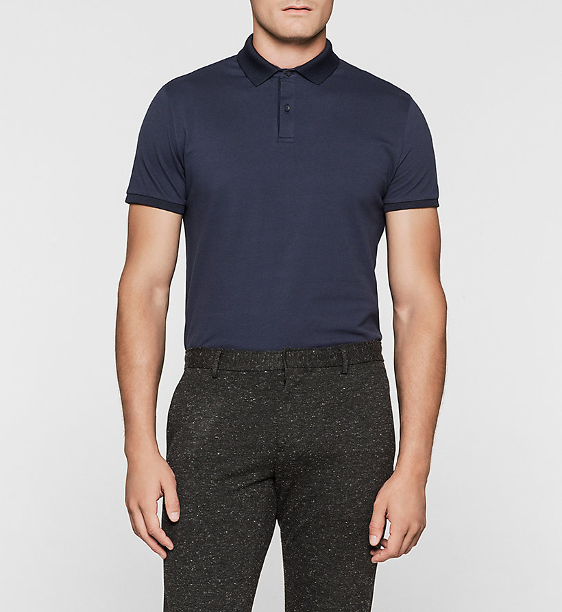 CALVINKLEIN Cotton Pique Polo - MIDNIGHT NAVY - CALVIN KLEIN POLO SHIRTS - main image