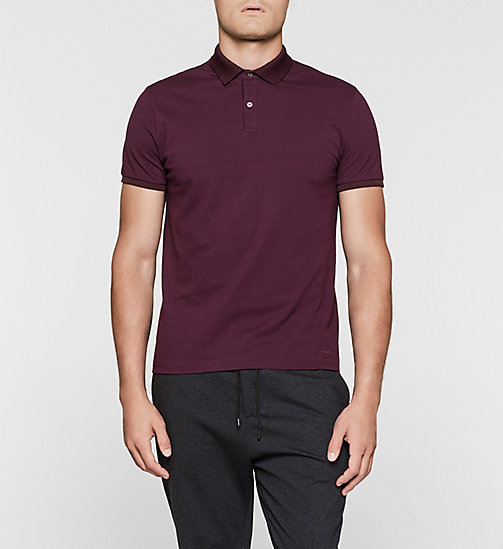 Cotton Pique Polo - PLUM - CALVIN KLEIN POLO SHIRTS - main image