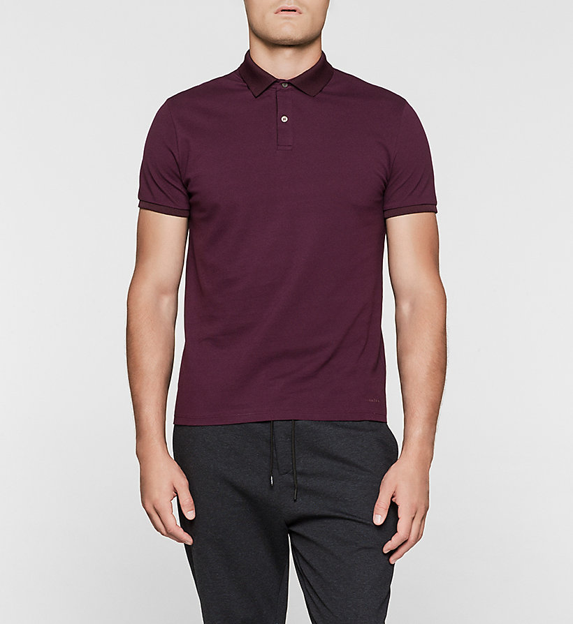 CALVINKLEIN Cotton Pique Polo - PLUM - CALVIN KLEIN POLO SHIRTS - main image
