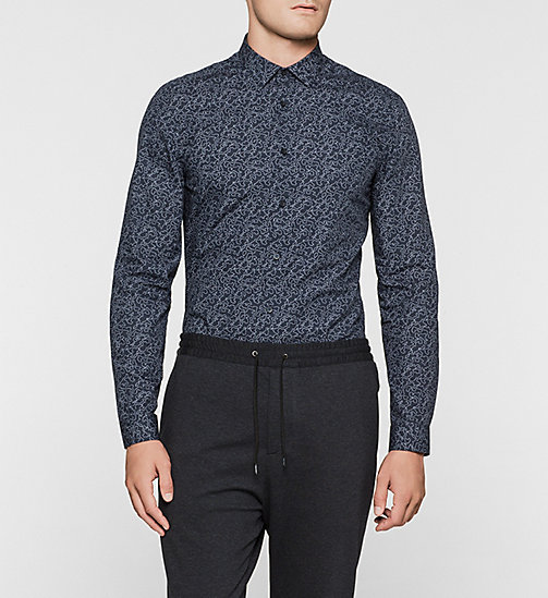 Fitted Shirt - MIDNIGHT NAVY / PERFECT WHITE - CALVIN KLEIN SHIRTS - main image
