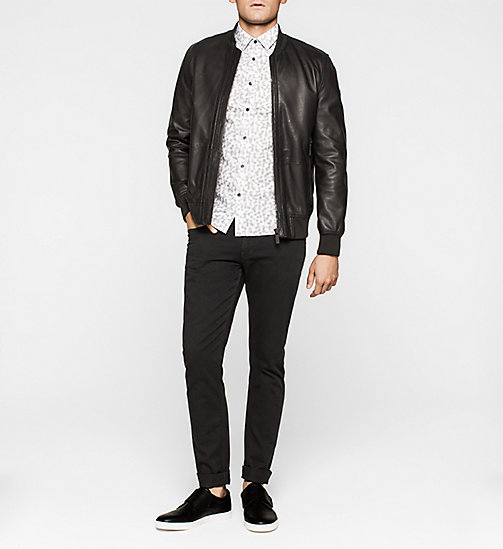 Leather Bomber Jacket - PERFECT BLACK - CALVIN KLEIN JACKETS - detail image 1