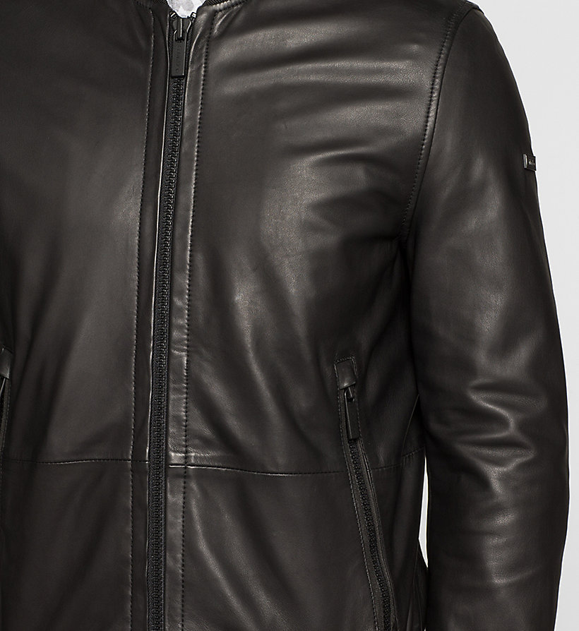 CALVINKLEIN Leather Bomber Jacket - PERFECT BLACK - CALVIN KLEIN JACKETS - detail image 2