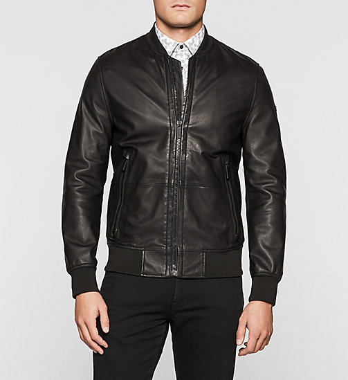 Leather Bomber Jacket - PERFECT BLACK - CALVIN KLEIN JACKETS - main image