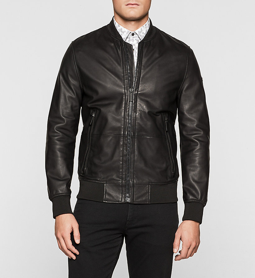 CALVINKLEIN Leather Bomber Jacket - PERFECT BLACK - CALVIN KLEIN JACKETS - main image