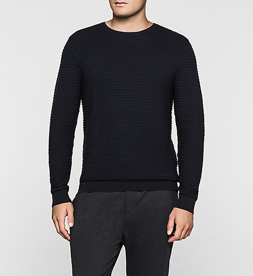 CKJEANS Textured Sweater - TRUE NAVY - CALVIN KLEIN JUMPERS - main image