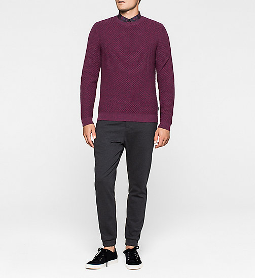 Textured Sweater - MAGENTA HEATHER - CALVIN KLEIN JUMPERS - detail image 1