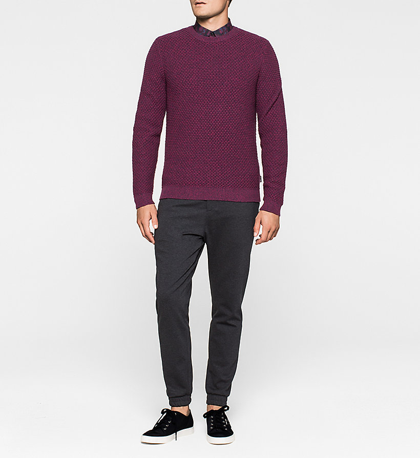 CALVINKLEIN Textured Sweater - MAGENTA HEATHER - CALVIN KLEIN JUMPERS - detail image 1