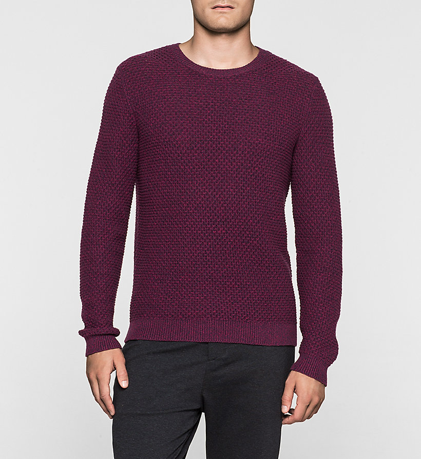 CALVINKLEIN Textured Sweater - MAGENTA HEATHER - CALVIN KLEIN JUMPERS - main image