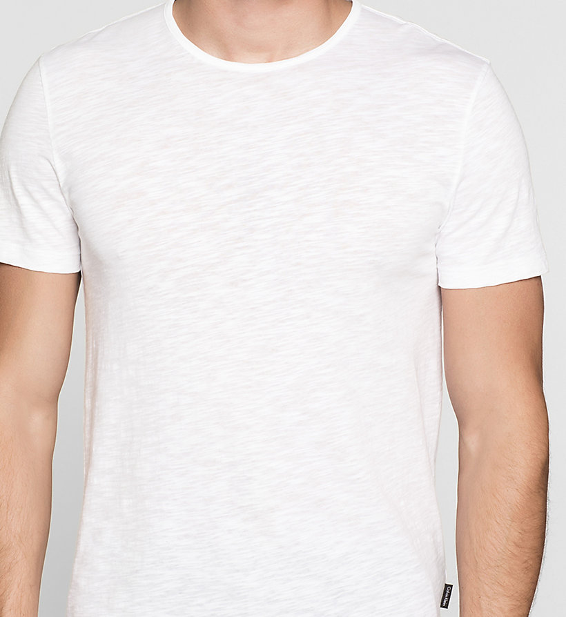 CALVINKLEIN Fitted Slub-Textured T-shirt - PERFECT WHITE - CALVIN KLEIN T-SHIRTS - detail image 2
