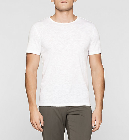 Fitted Slub-Textured T-shirt - PERFECT WHITE - CALVIN KLEIN T-SHIRTS - main image