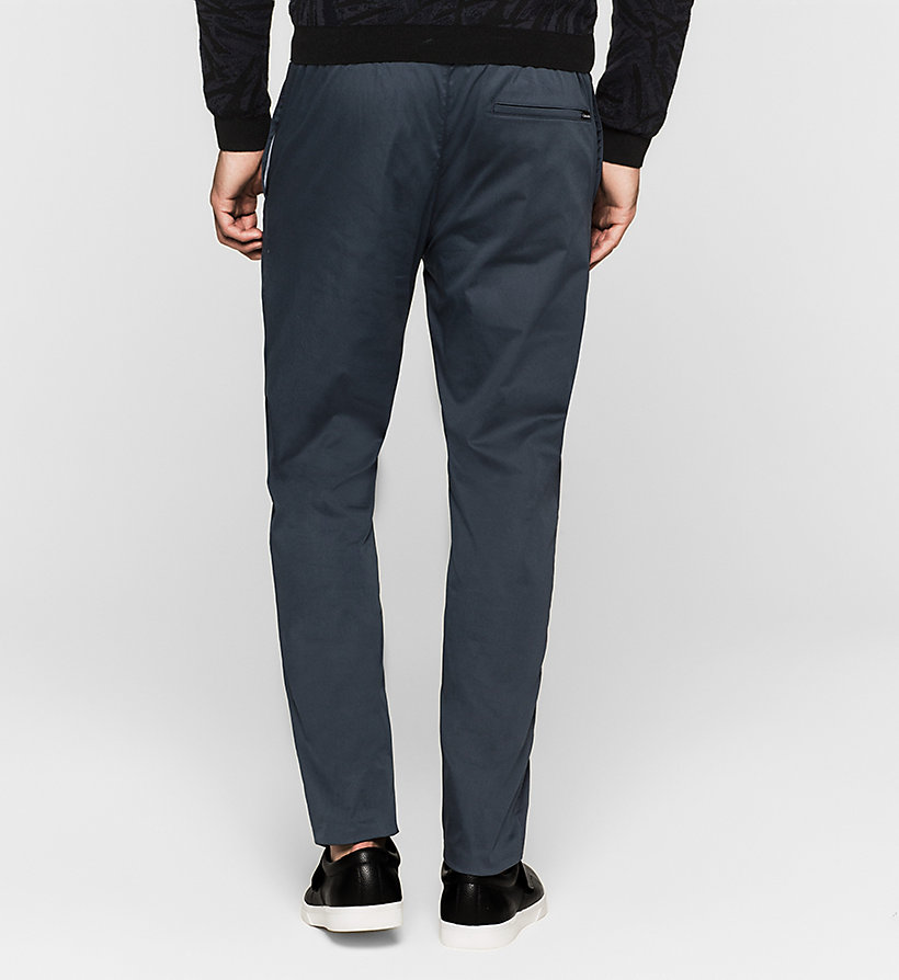 CALVINKLEIN Stretch Sateen Trousers - TRUE NAVY - CALVIN KLEIN TROUSERS - detail image 1
