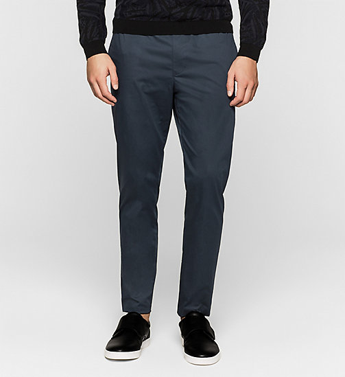 CALVINKLEIN Stretch Sateen Trousers - TRUE NAVY - CALVIN KLEIN URBAN VOYAGER - main image