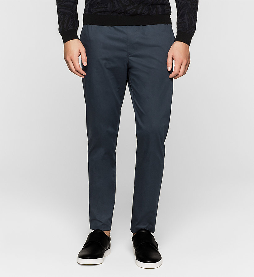 CALVINKLEIN Stretch Sateen Trousers - TRUE NAVY - CALVIN KLEIN TROUSERS - main image