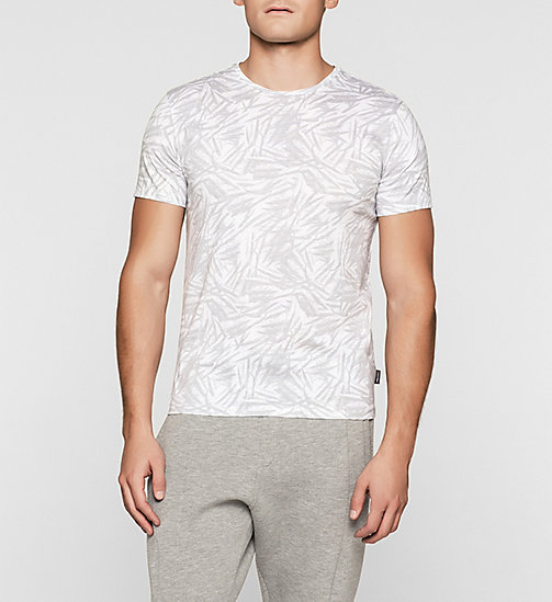 CALVINKLEIN Fitted Leaf Print T-shirt - PERFECT WHITE - CALVIN KLEIN URBAN VOYAGER - main image