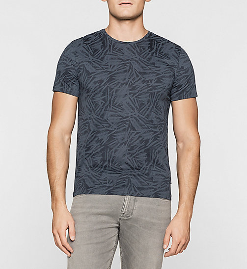 Fitted Leaf Print T-shirt - TRUE NAVY - CALVIN KLEIN T-SHIRTS - main image