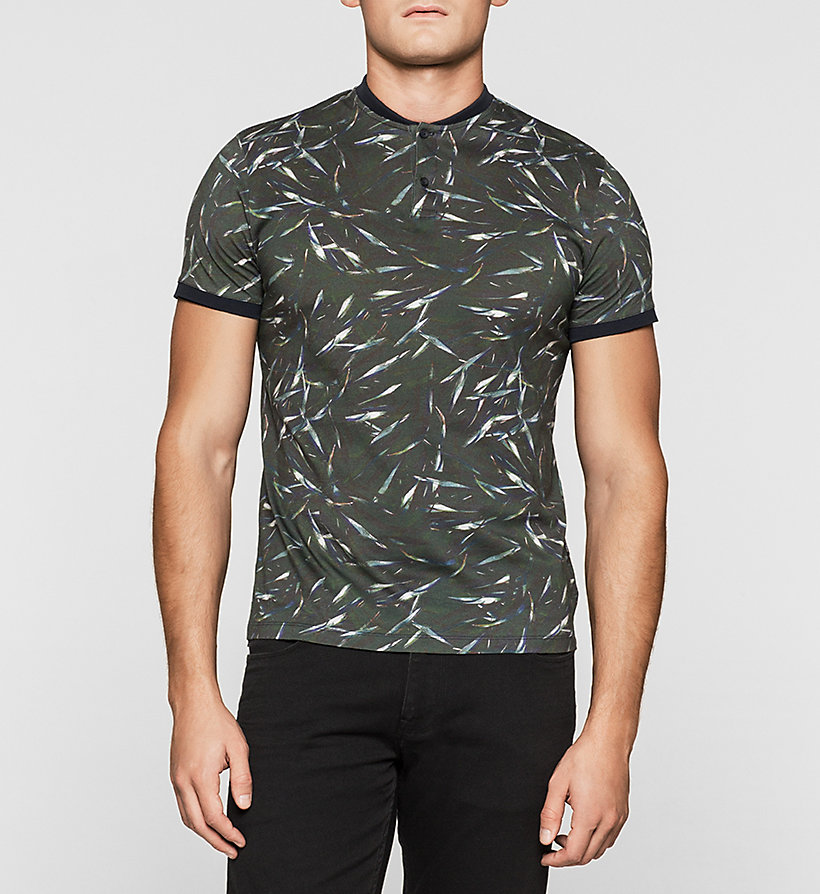 CALVINKLEIN Fitted Printed Polo - BLACK OLIVE - CALVIN KLEIN POLO SHIRTS - main image