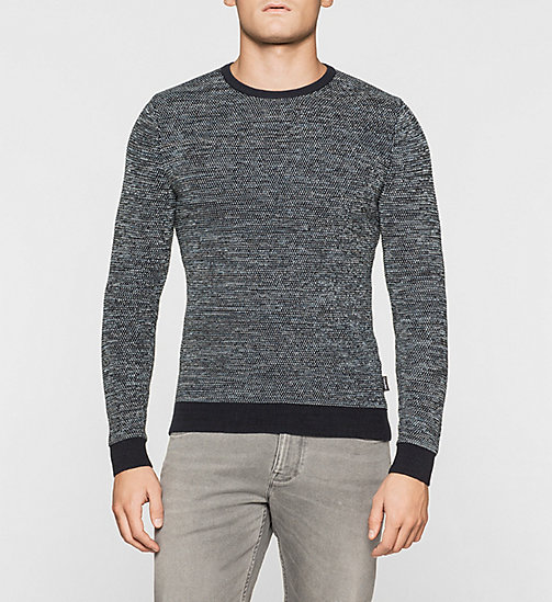 CKJEANS Wool Cotton Blend Sweater - MODERN BLUE HEATHER - CALVIN KLEIN JUMPERS - main image