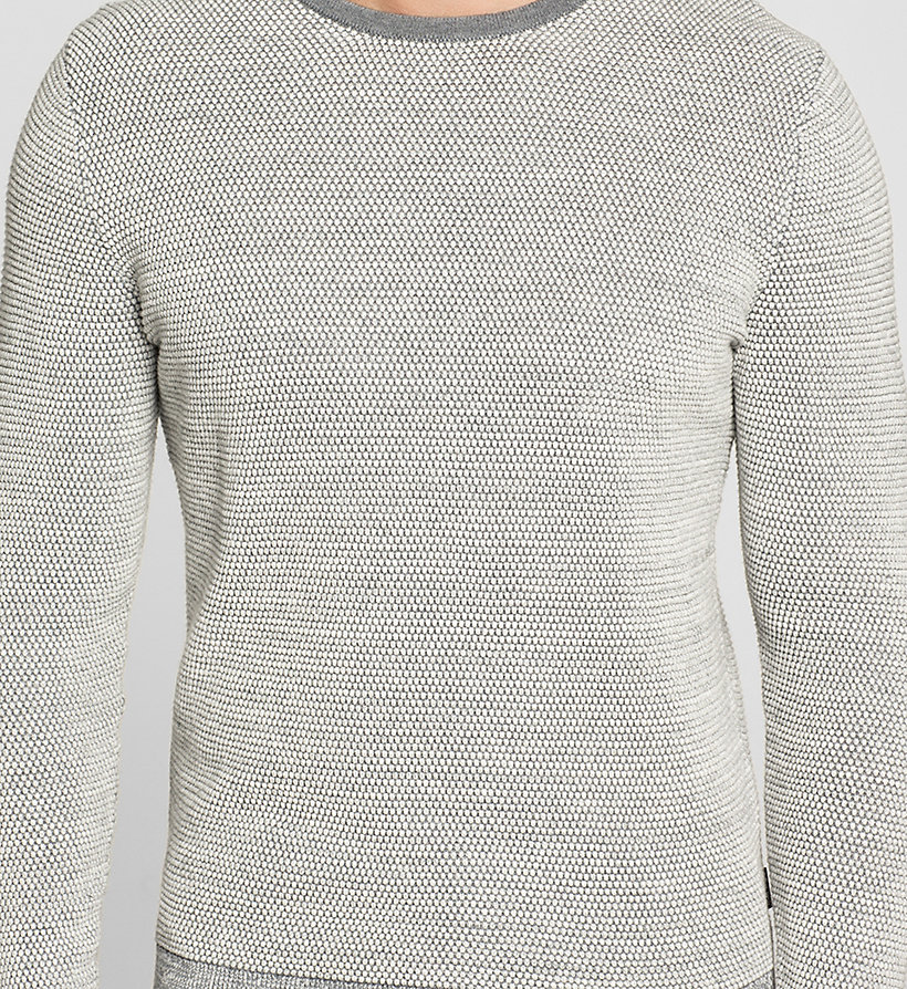 CALVINKLEIN Wool Cotton Blend Sweater - MORNING DAWN HEATHER - CALVIN KLEIN CLOTHES - detail image 2