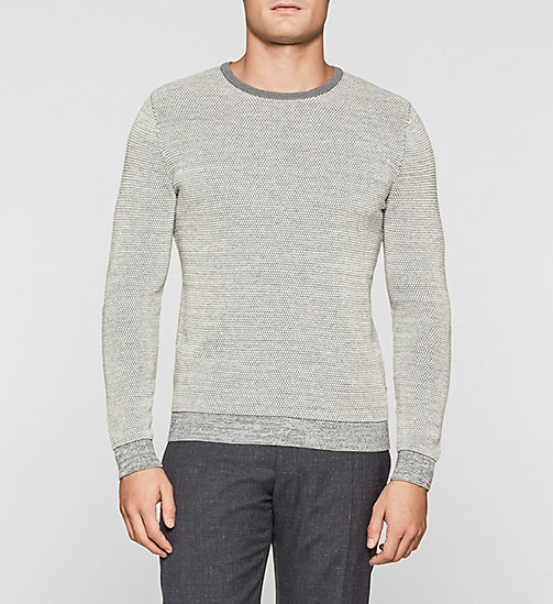 Wool Cotton Blend Sweater - MORNING DAWN HEATHER - CALVIN KLEIN JUMPERS - main image