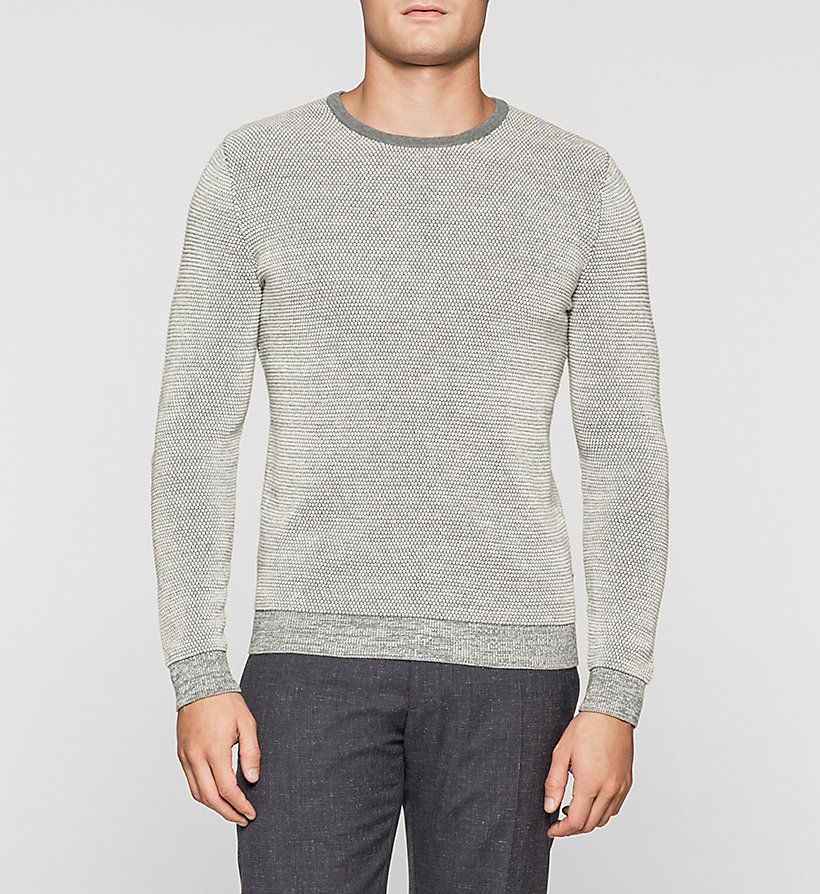 CALVINKLEIN Wool Cotton Blend Sweater - MORNING DAWN HEATHER - CALVIN KLEIN JUMPERS - main image