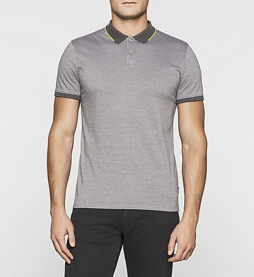 Fitted Cotton Piqué Polo - ASPHALT - CALVIN KLEIN POLO SHIRTS - main image