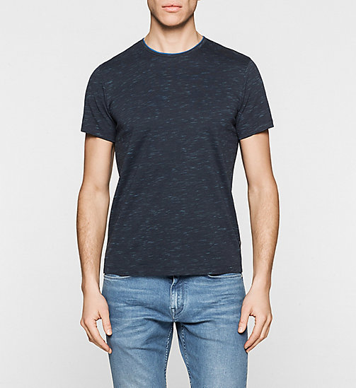 Fitted Heathered T-shirt - TRUE NAVY - CALVIN KLEIN  - main image
