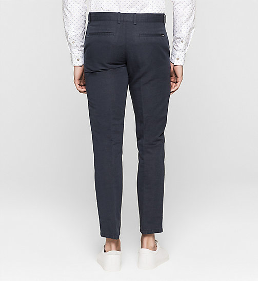 CALVINKLEIN Linen Cotton Chino Trousers - TRUE NAVY - CALVIN KLEIN TROUSERS - detail image 1