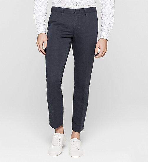 Linen Cotton Chino Trousers - TRUE NAVY - CALVIN KLEIN TROUSERS - main image