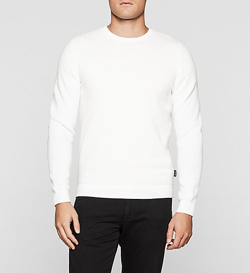 CKJEANS Structured Knit Sweater - PERFECT WHITE - CALVIN KLEIN JUMPERS - main image