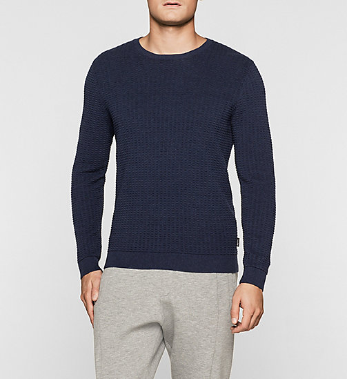CKJEANS Structured Knit Sweater - MEDIEVAL BLUE HTR - CALVIN KLEIN JUMPERS - main image