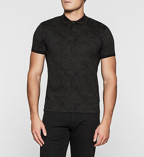 Fitted Printed Polo - PERFECT BLACK - CALVIN KLEIN POLO SHIRTS - main image
