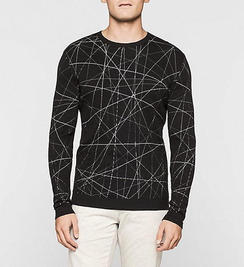 Stripe Knit Sweater - PERFECT BLACK - CALVIN KLEIN JUMPERS - main image