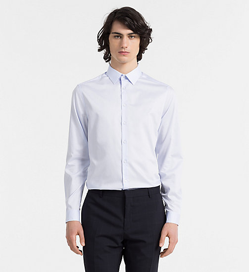 Fitted Cotton Twill Shirt - SOFT BLUE - CALVIN KLEIN  - main image