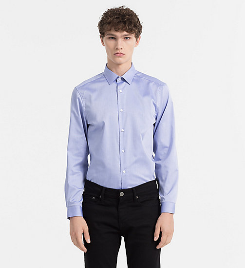 Fitted Cotton Twill Shirt - FLAX BLUE - CALVIN KLEIN SHIRTS - main image