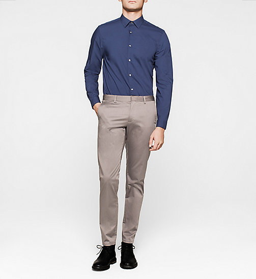 Fitted Cotton Stretch Shirt - INK BLUE - CALVIN KLEIN SHIRTS - detail image 1